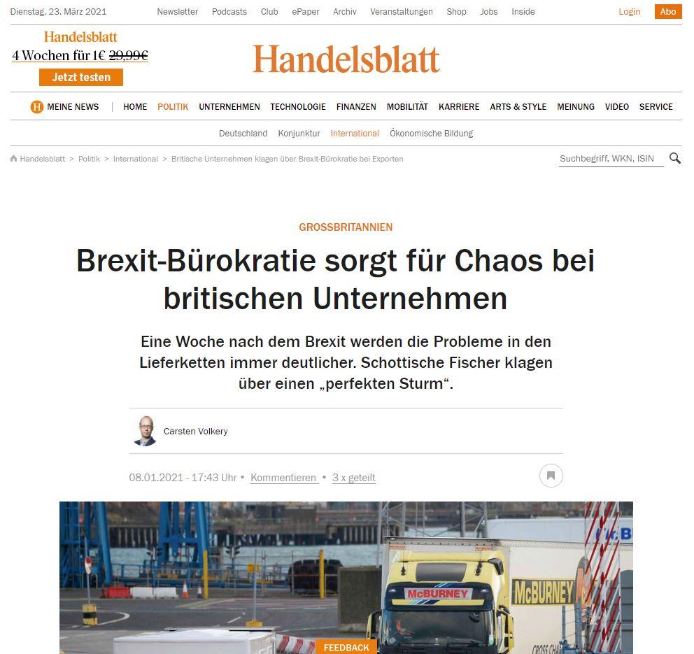 Brexit-Bürokratie sorgt für Chaos, Lieferkettenunterbrechungen,lieferengpaesse