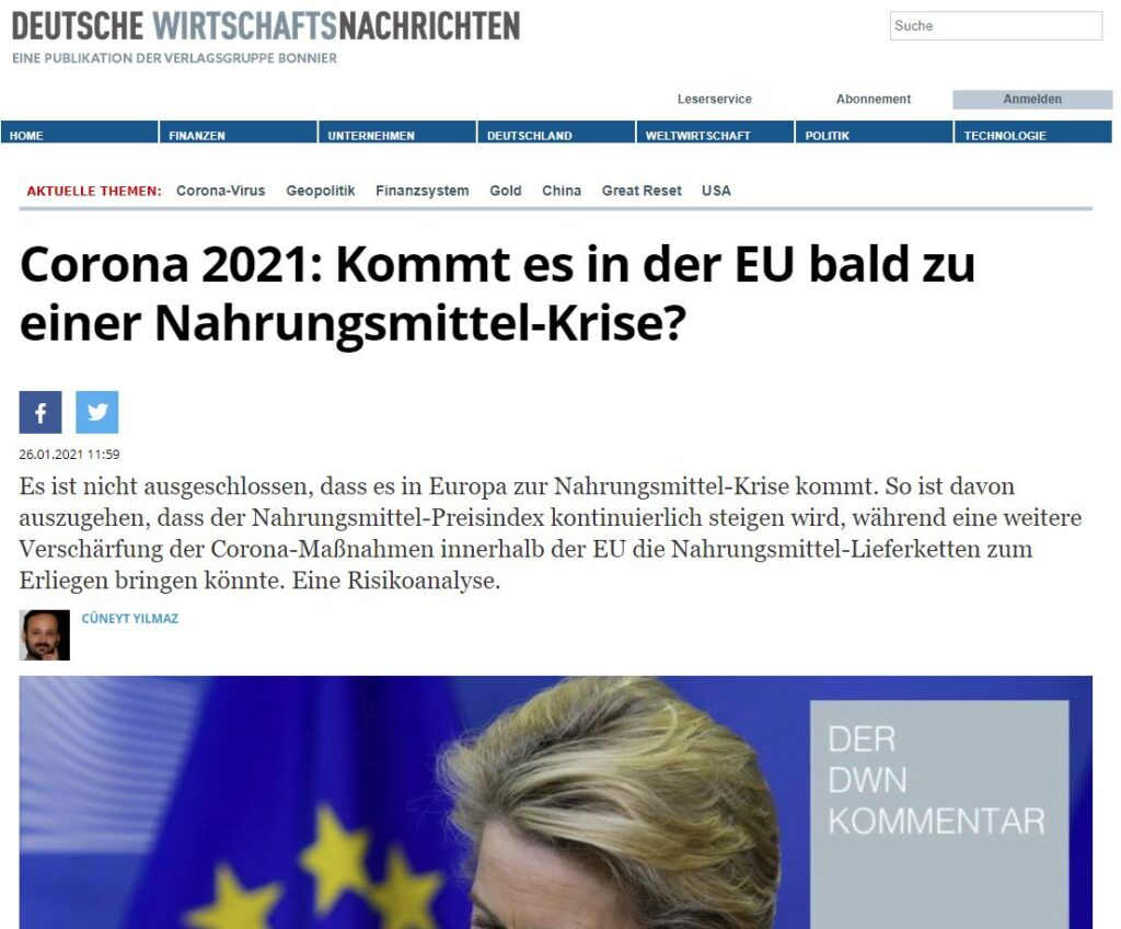 Corona 2021: Kommt es in der EU bald zu einer Nahrungsmittel-Krise?