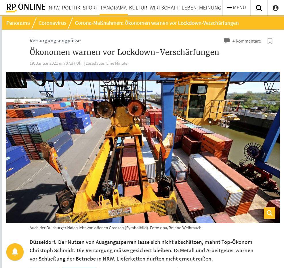 Versorgungsengpässe : Ökonomen warnen vor Lockdown-Verschärfungen