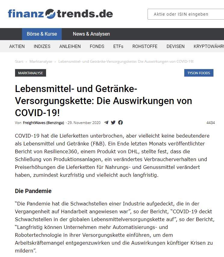 Lebensmittel- und Getränke-Versorgungskette: Die Auswirkungen von COVID-19!