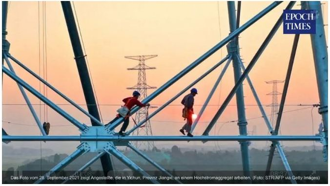 """Flächendeckende Stromausfälle in China – Energiewende oder Kriegsvorbereitung?"""" aus der Epoch Times vom 6. Oktober 2021"""
