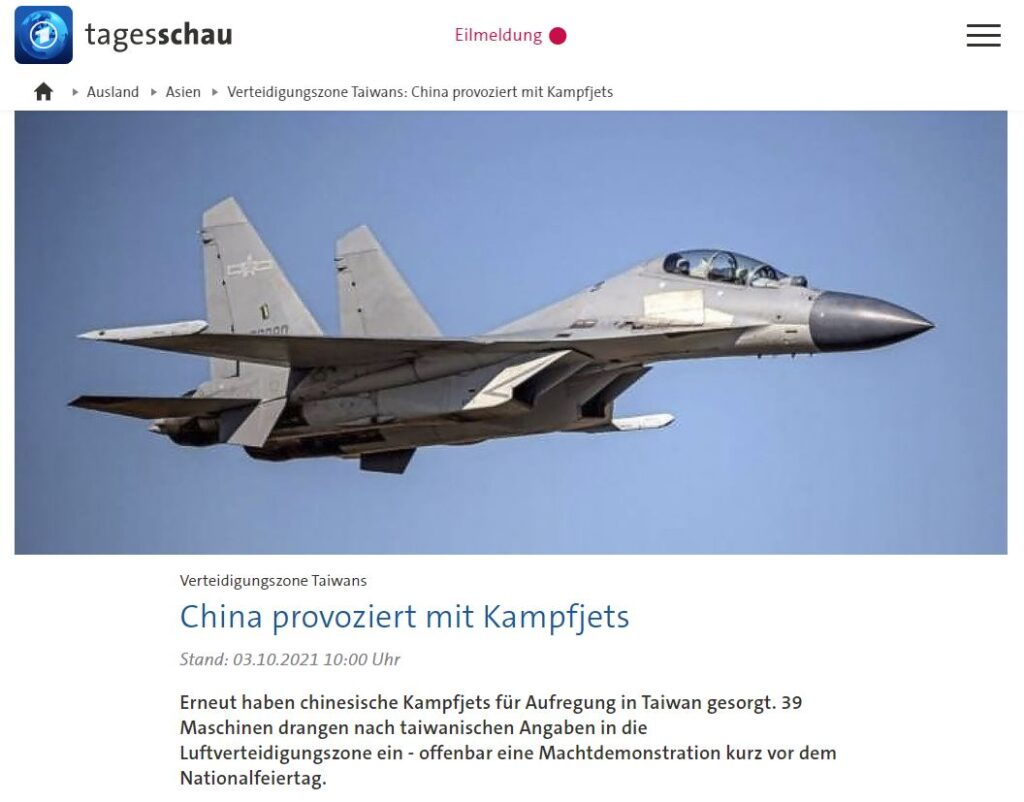 China vs. Taiwan  - China provoziert mit Kampfjets